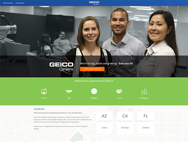 Screenshot of GEICO Careers