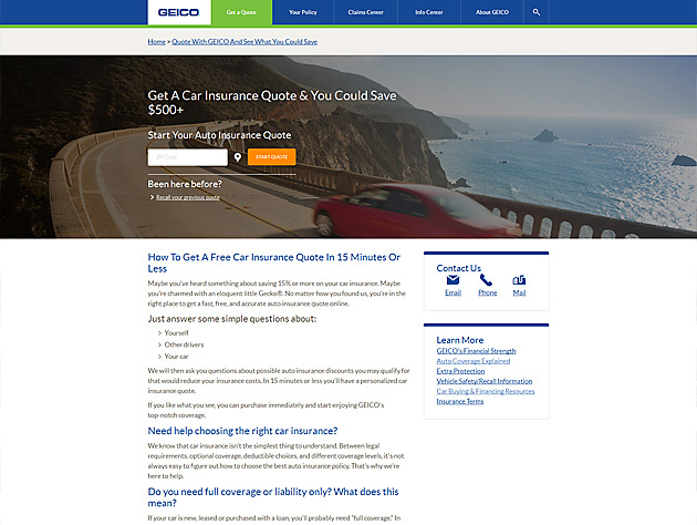 Screenshot of GEICO Responsive Layout