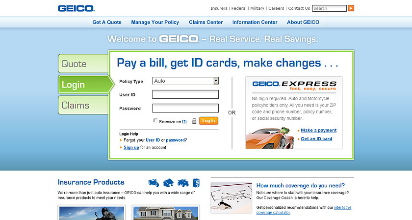 Screenshot of 2011 GEICO homepage showing policyholder login view
