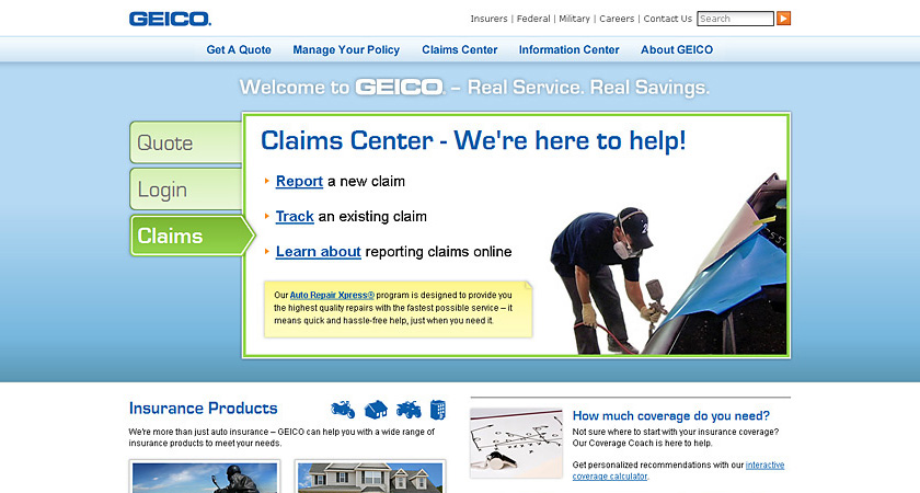 Screenshot of 2011 GEICO homepage showing claims view