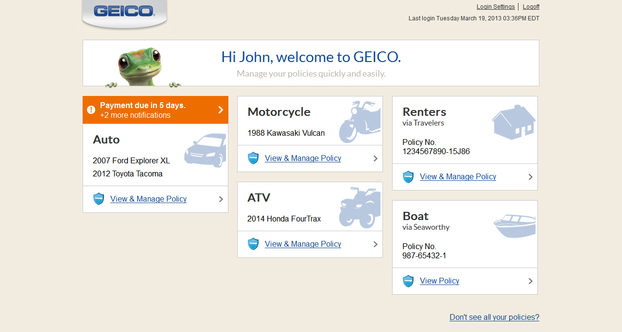 Screenshot of GEICO Portfolio on desktop