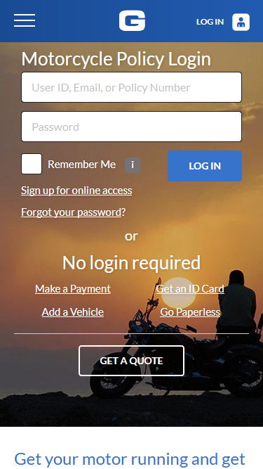 Screenshot of GEICO website on mobile phone, showing login view